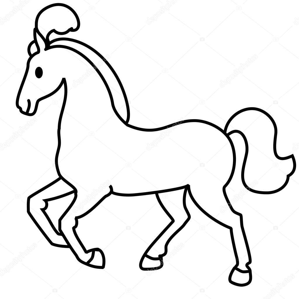 1024x1024 Simple Line Drawing. Horse Stock Vector Olga 968