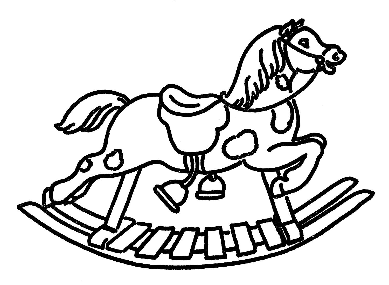 1500x1098 Vintage Line Art Rocking Horse