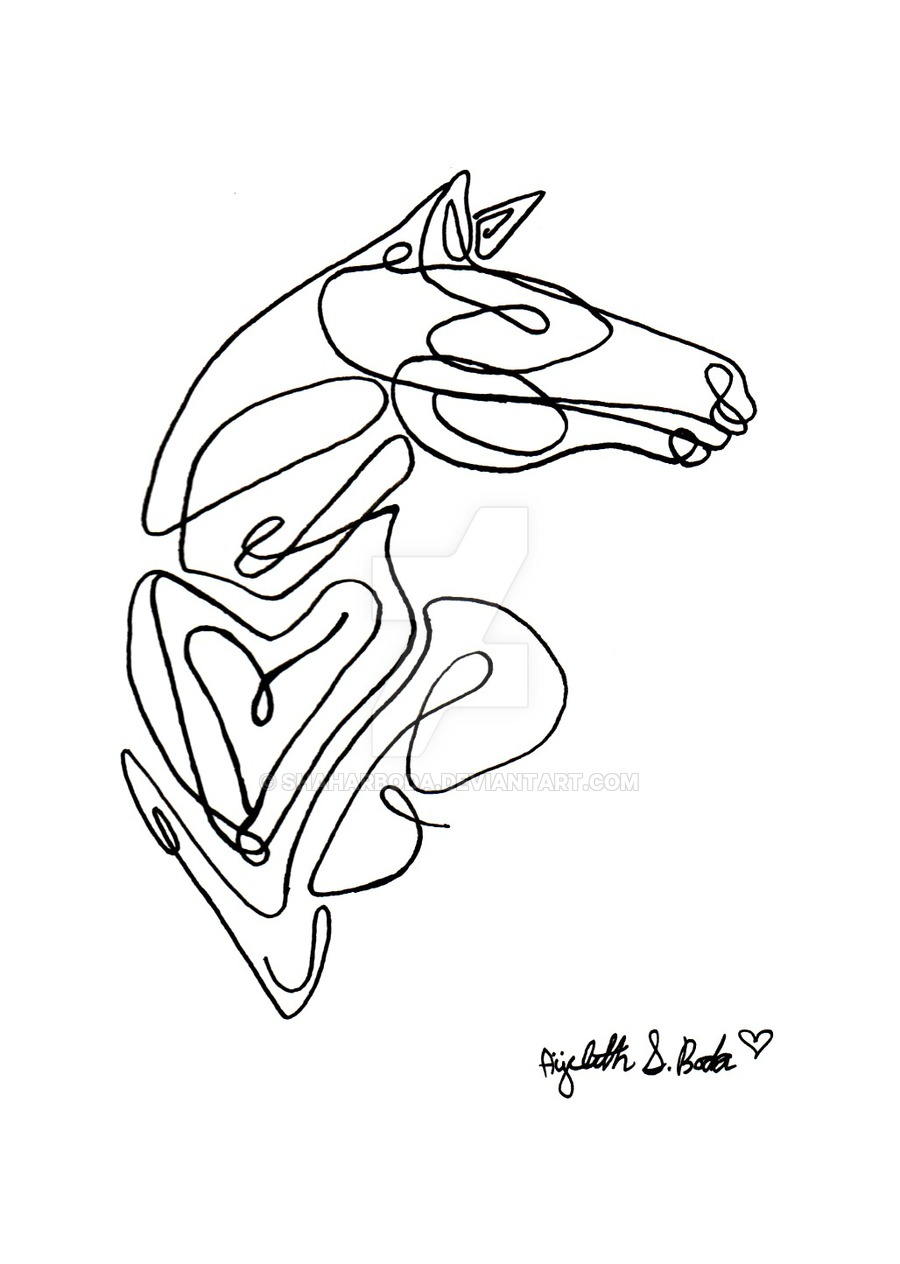 900x1264 Horse Single Line Art By On @