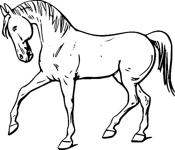 600x513 Walking Horse Outline Clip Art