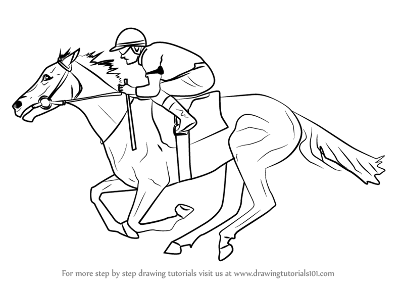 800x566 Learn How To Draw A Racehorse With Jockey (Horses) Step By Step