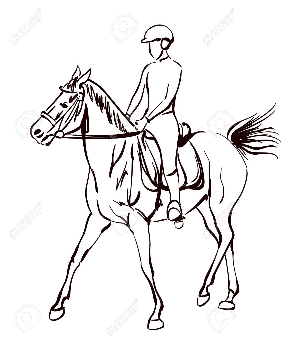 1133x1300 Riding Horse Vector Illustration. Sketchy Drawing On Equestrian