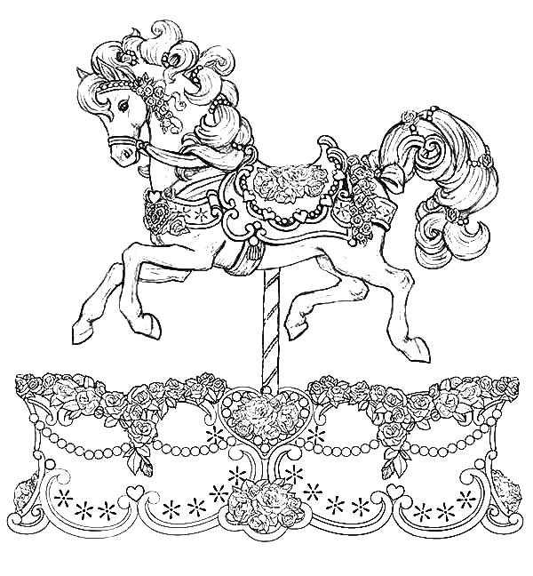600x648 Horse And Carriage Coloring Pages Free To Print Carousel Best