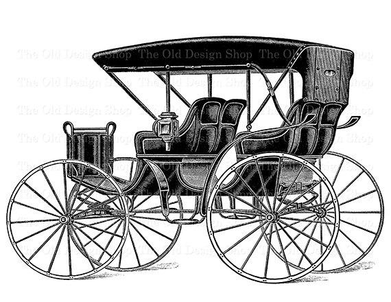 570x440 Horse Buggy Carriage Vintage Clip Art Antique Transportation