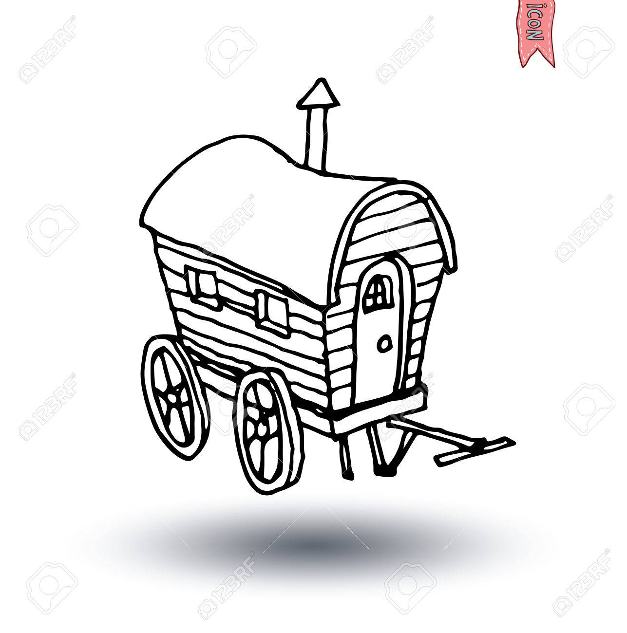 1287x1300 Horse Carriage Wagon Icon, Vector Illustration. Royalty Free