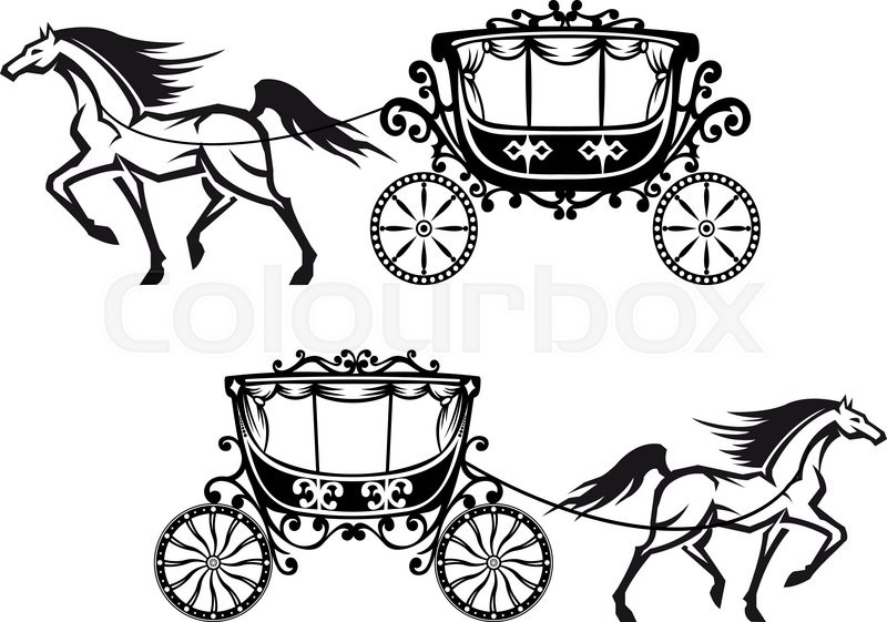 800x561 Horses Harnessed To A Antique Carriages With Elegant Curtains