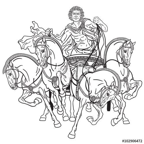 500x500 Charioteer In A Roman Quadriga Chariot Pulled By Four Horses