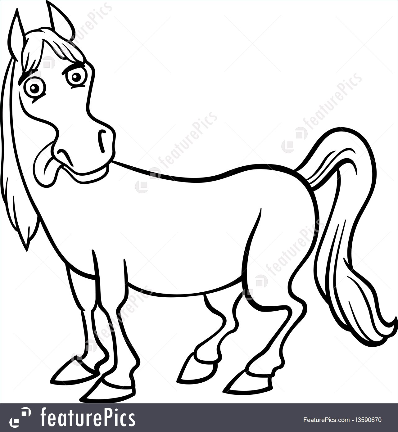 1282x1392 Farm Horse Cartoon For Coloring Book Illustration