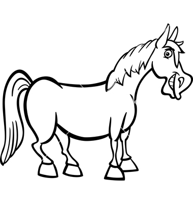 380x400 Farm Horse Cartoon For Coloring Book Vector 1176260