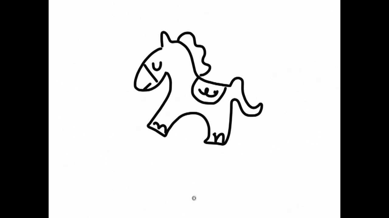 1280x720 Ipad Draw A Simple Cartoon Horse