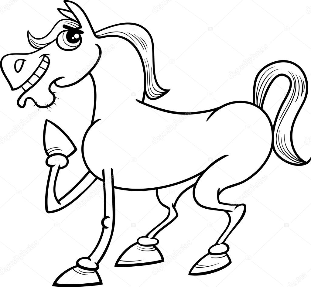 1024x945 Farm Horse Cartoon Coloring Page Stock Vector Izakowski