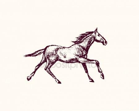 450x359 Hand Drawn Running Horse Stock Vector Ezhevica