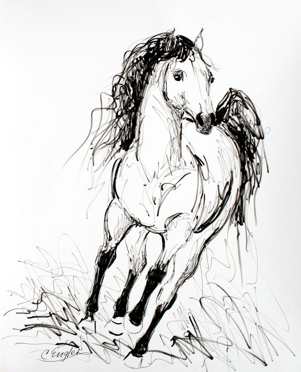 600x741 Head On Gallop, Equine Ink Drawing By Carol Engles Original Art