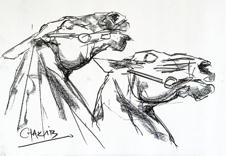 1500x1037 Two Heads. Study. Charcoal Drawing Chakib Benkara Official Site