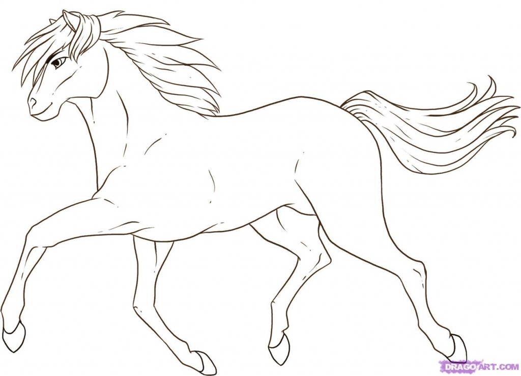 1024x738 Easy Horse Drawing How To Draw A Running Horse Step Step Farm