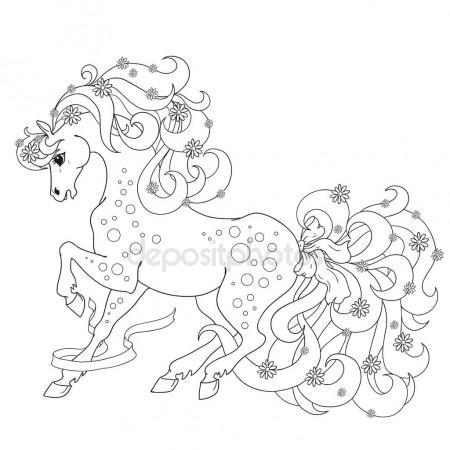450x450 Horse With Flowers And Bows. Vector Coloring Anti Stress. Coloring