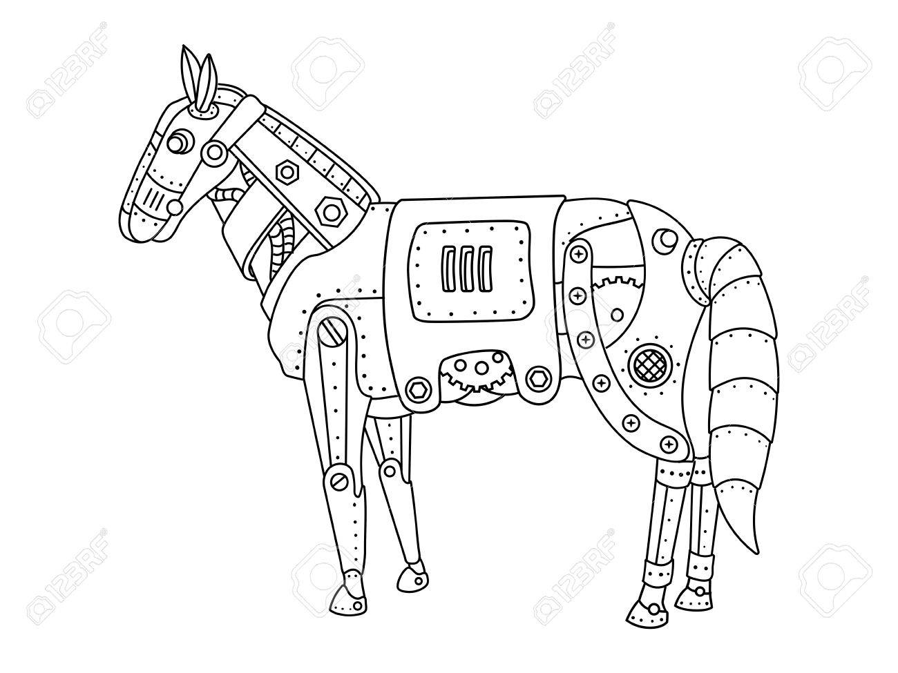 1300x975 Steam Punk Style Horse. Mechanical Animal. Coloring Book Vector
