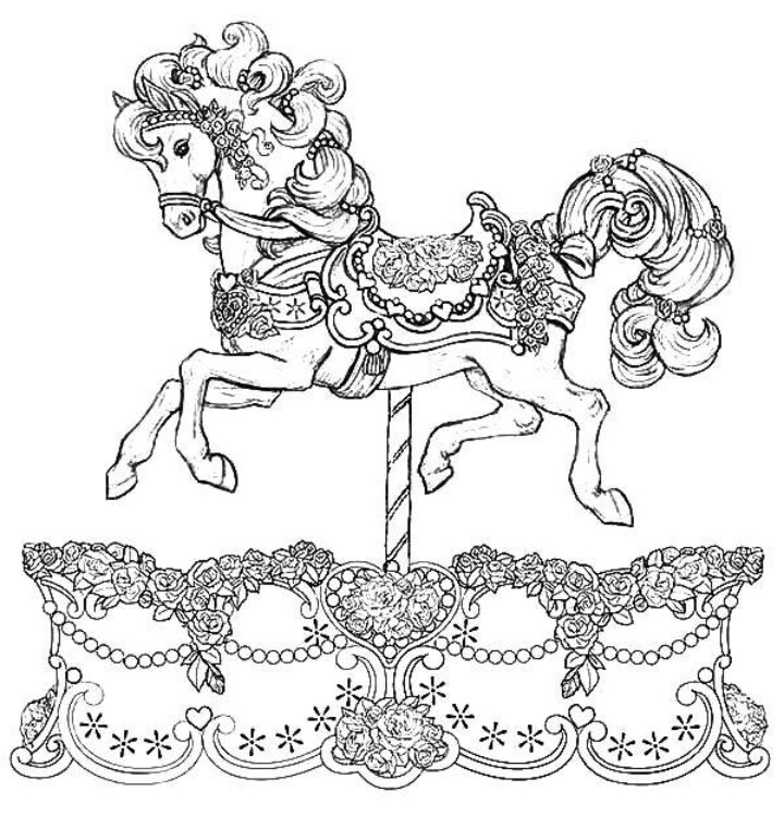 720x749 Carousel Horse Coloring Page Coloring Pages For Rainy Days