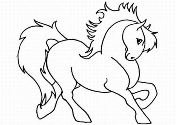 600x425 Cartoon Horse Coloring Cute In Horses Page