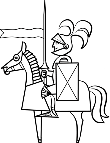 371x480 Cartoon Knight On Horse Coloring Page Free Printable Coloring Pages