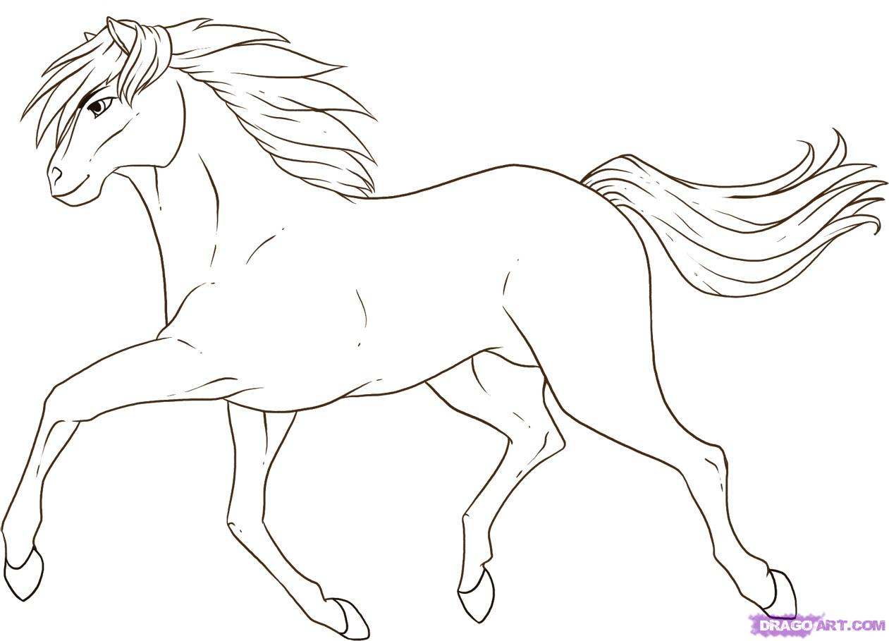1261x909 How To Draw A Horse Running Easy