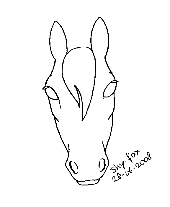 576x701 Horse Head Lineart By Shy Fox