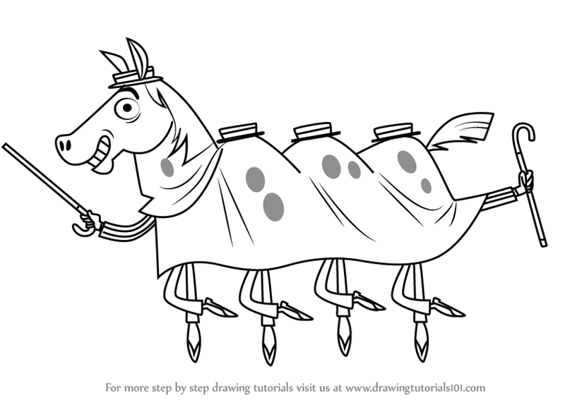 800x567 Learn How To Draw Four Man Horse From Grojband (Grojband) Step By