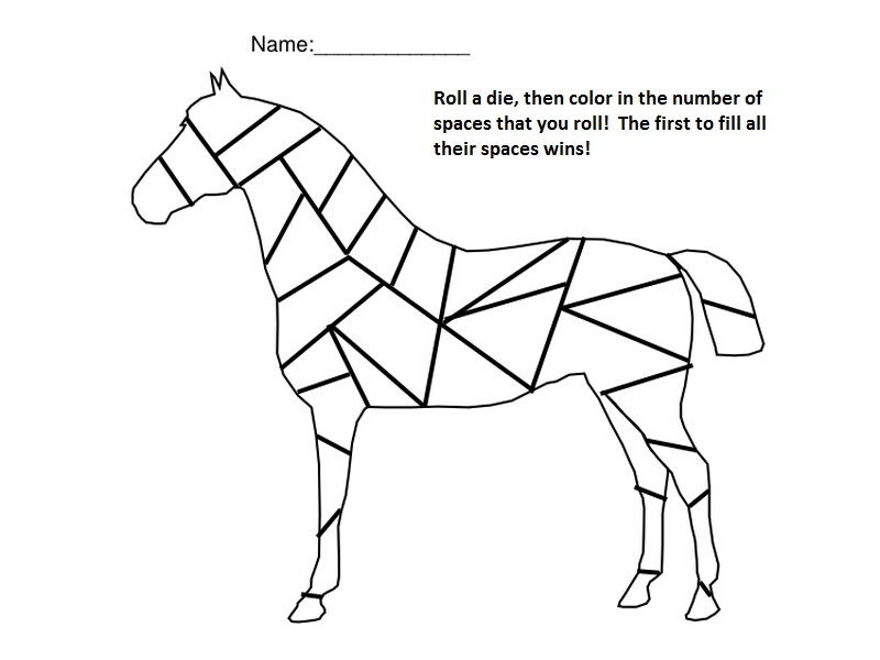 800x600 Horse Roll The Die And Color The Number Game Nuttin' But Preschool