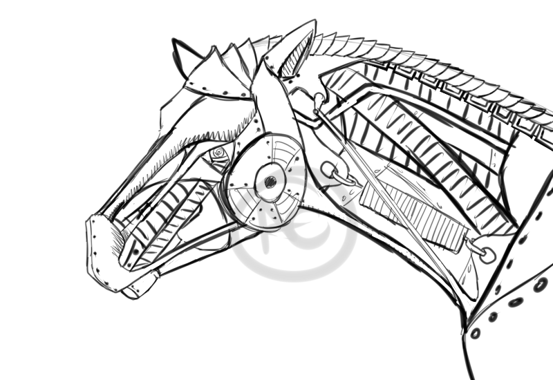 800x550 Mecha Horse Head Sketch By Amyemerald