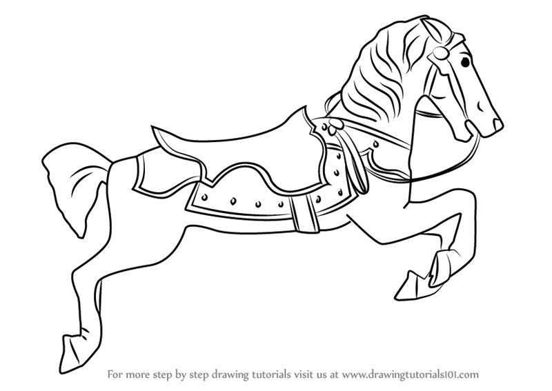 800x567 Learn How To Draw Carousel Horse (Everyday Objects) Step By Step