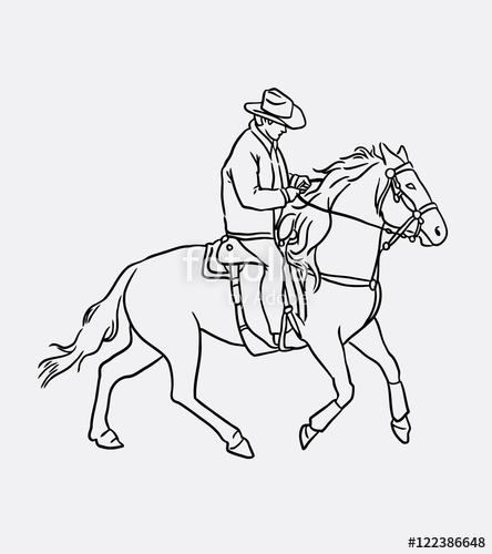 444x500 Cowboy Riding Horse Sketch. People Activity Artistic Drawing, Good