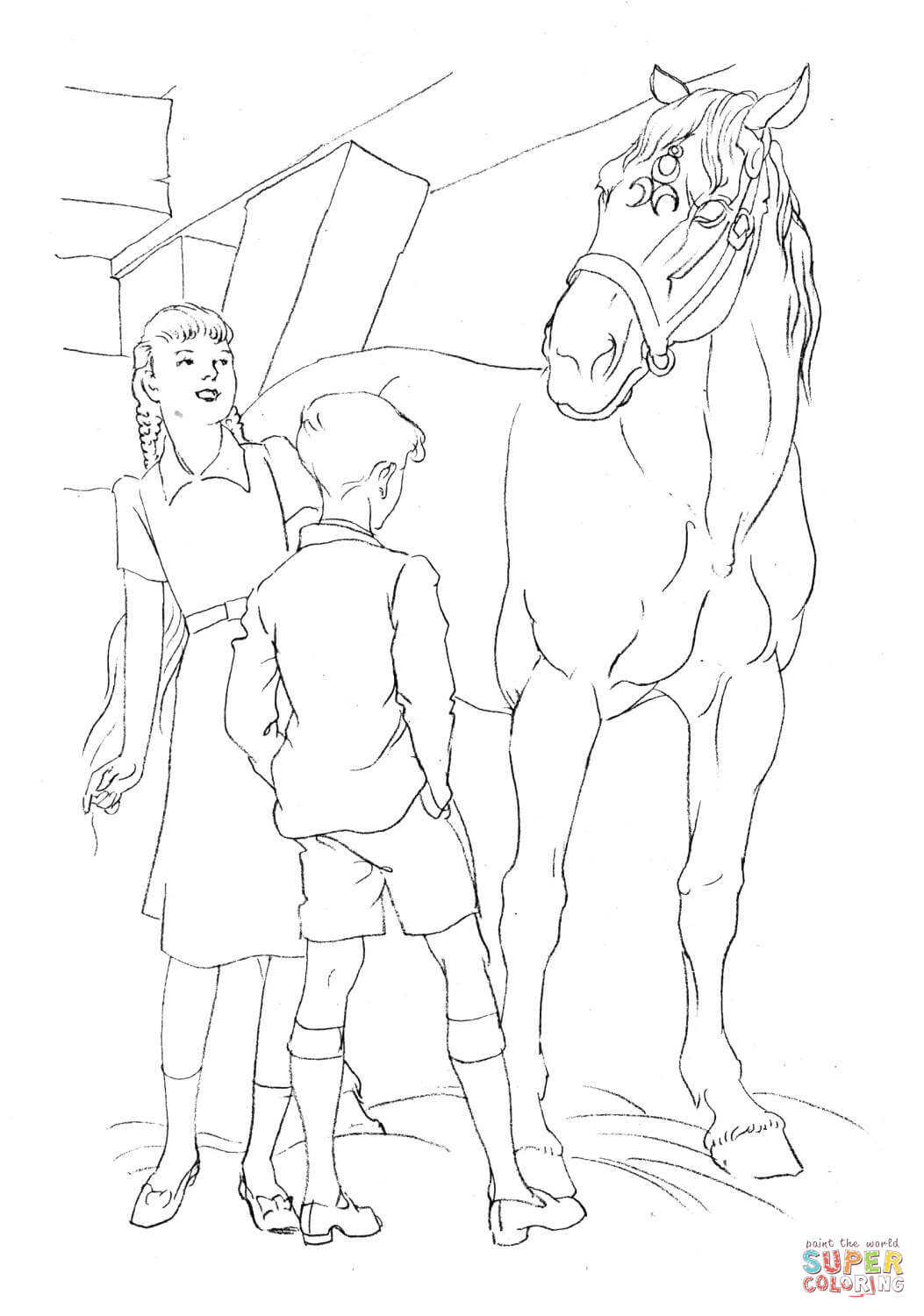 1053x1500 Horse And Kids Coloring Page Free Printable Coloring Pages