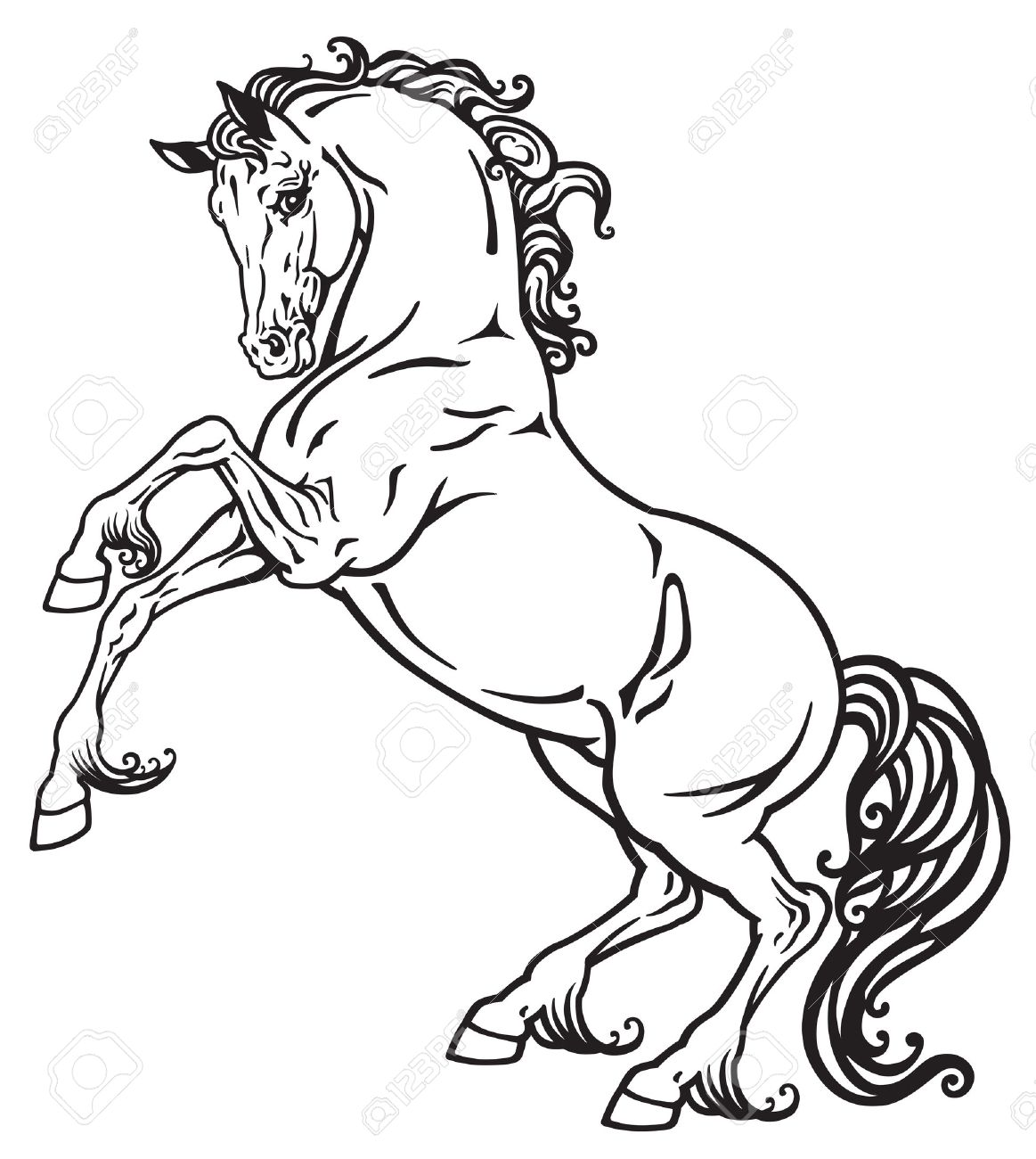 1163x1300 Rearing Horse Black And White Outline Image Royalty Free Cliparts