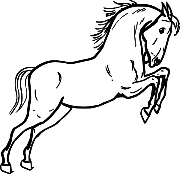600x582 Jumping Horse Outline Animal Jumping Horses