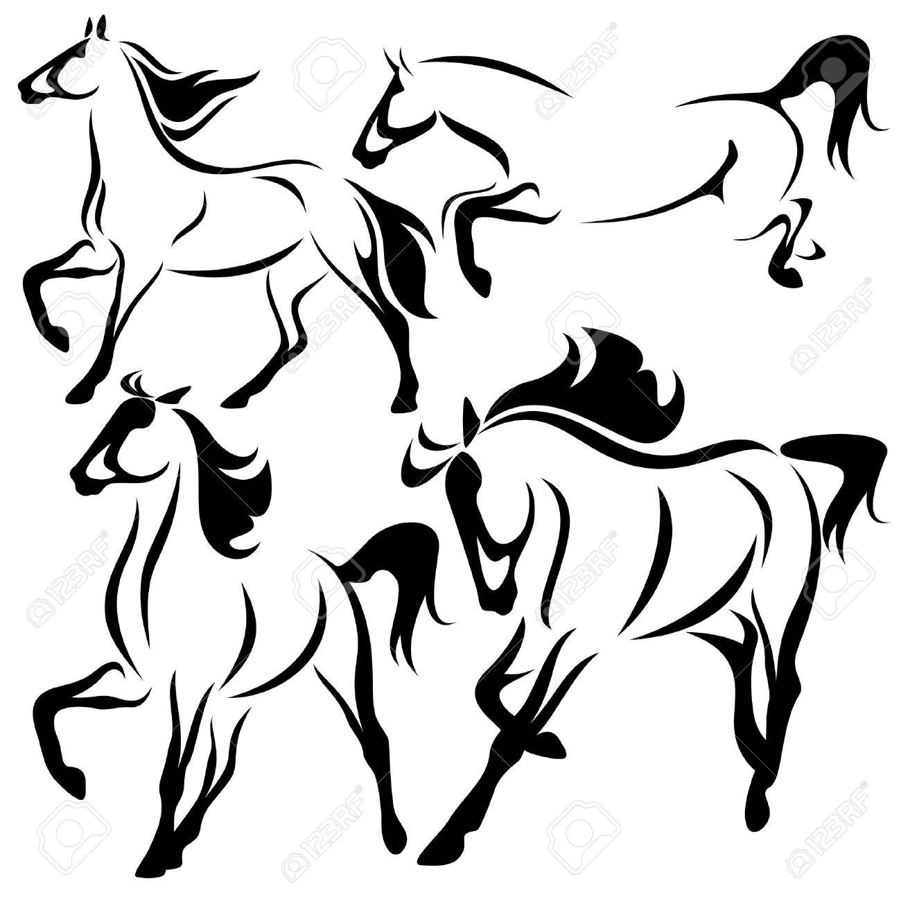 1300x1294 Vector Set Of Fine Horses Outlines Royalty Free Cliparts, Vectors