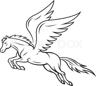 320x284 Pegasus Outline Drawing