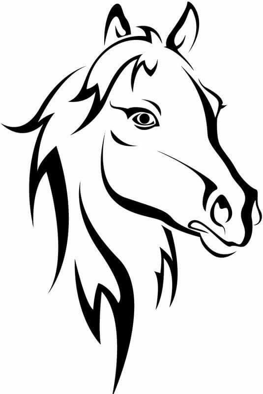 535x800 Collection Of 25 Outline Horse Head Tattoo Design