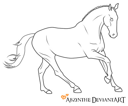 448x373 Running Horse Lineart By Abzinthe