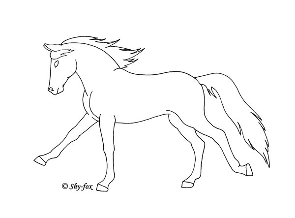 600x443 Running Horse Lineart By Shy Fox