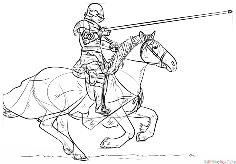 828x575 How To Draw A Knight On Horse Step By Step Drawing Tutorials