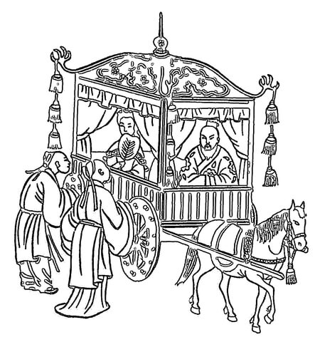 443x480 Confucius In A Horse Drawn Coach Coloring Page Free Printable