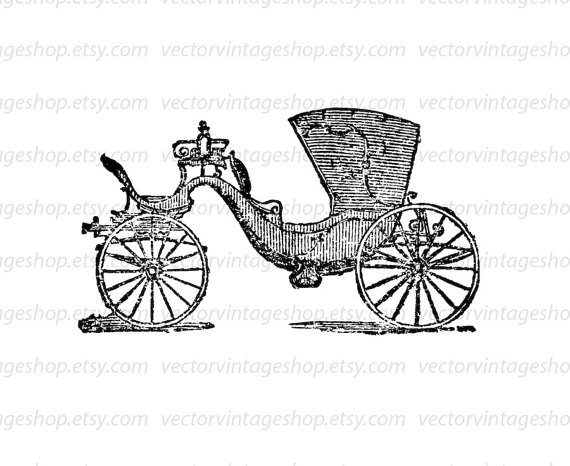 570x466 Horse Drawn Carriage Vector Clipart Instant Download, Brett