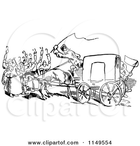 450x470 Clipart Of Retro Vintage Black And White People On A Horse Drawn