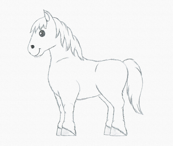 600x507 Coloring Pages Horse Drawing For Kids How To Draw Cute Cartoon