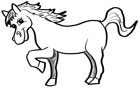450x284 How To Draw A Cartoon Horse Easy