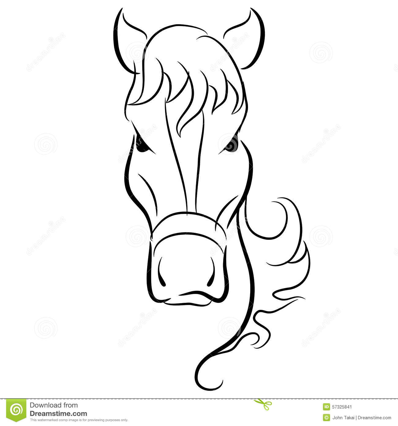 1300x1390 Simple Horse Head Drawing Horse Head Drawing Stock Vector