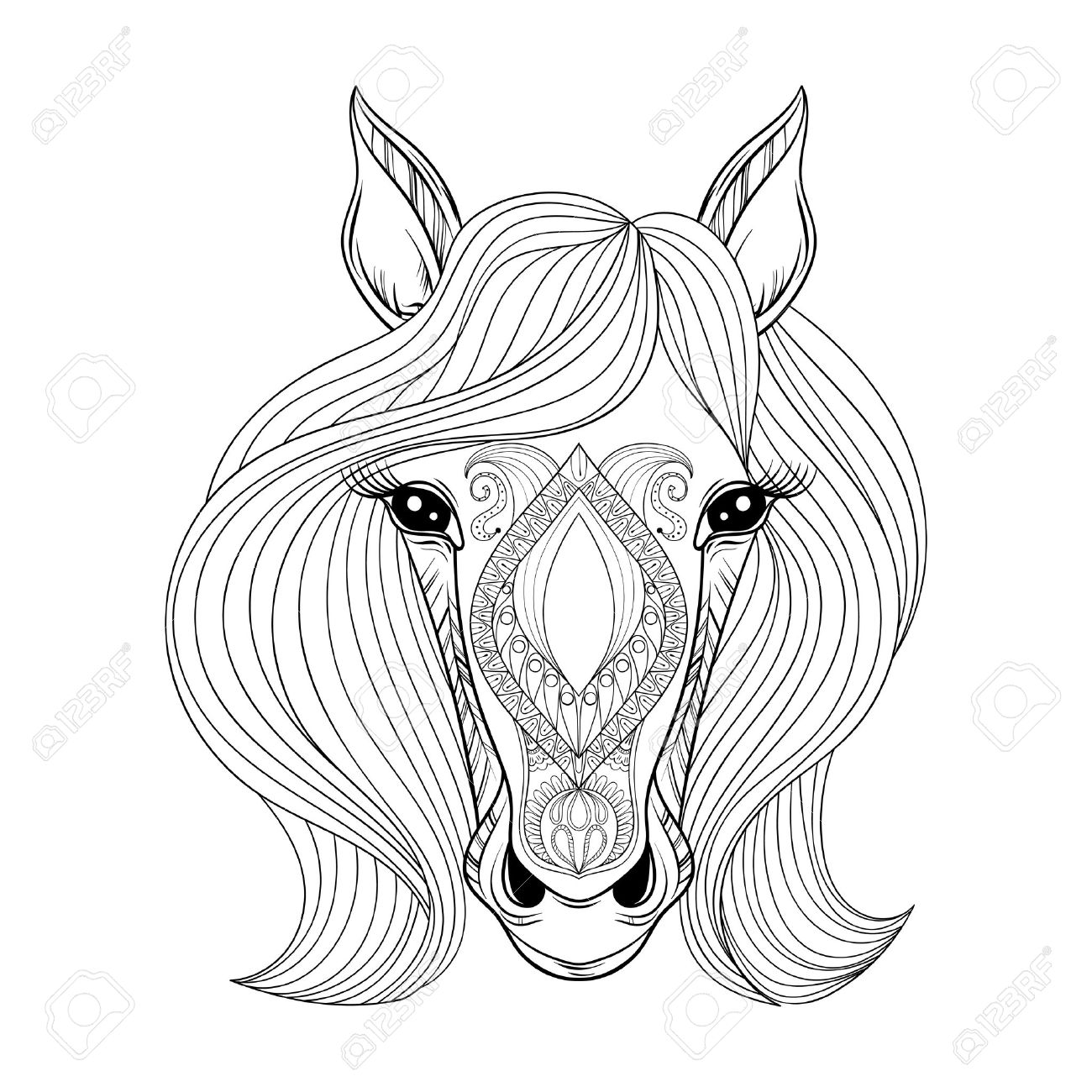1300x1300 Vector Horse. Coloring Page With Zentangled Horse Face. Hand Drawn
