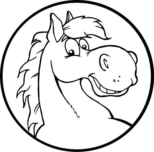 536x530 Coloring Page Of A Smiley Horse Face For Kids