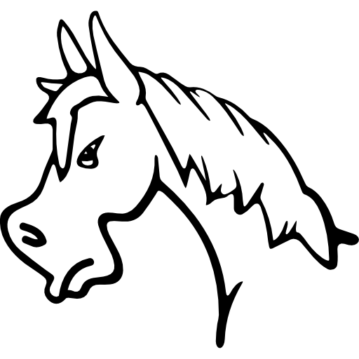 512x512 Angry Horse Face Side View Outline
