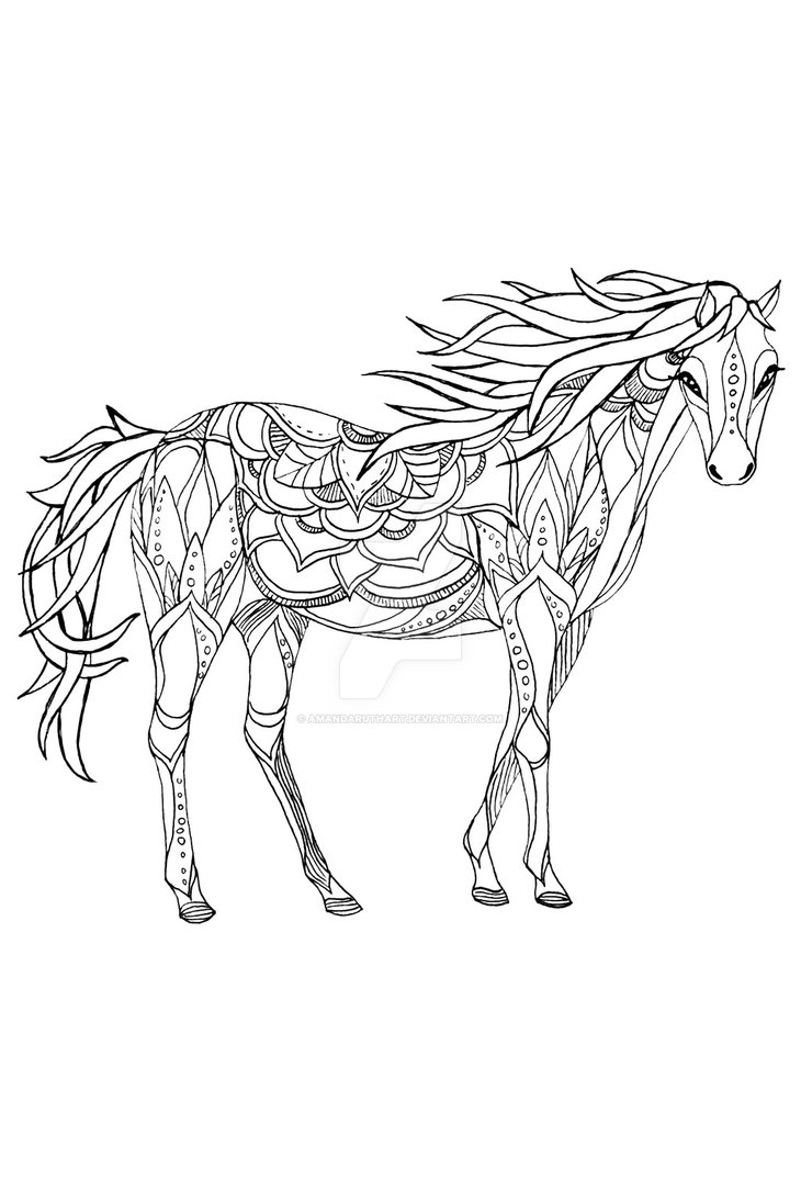 730x1095 Patterned Horse Ink Drawing By Amandaruthart